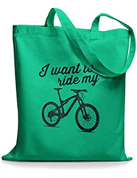 StyloBags Jutebeutel / Tasche I want to ride my MTB
