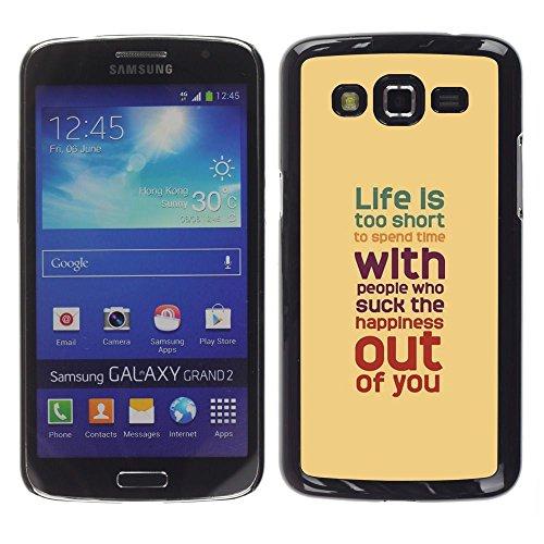 GooooStore/Dura Custodia Rigida della copertura della cassa - Life Is Too Short Teal Peach Red Purple - Samsung Galaxy Grand 2 SM-G7102 SM-G7105 - 2 ° Fast Peach