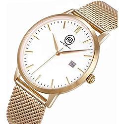 AIBI Men's 40mm Rose Gold-Tone Steel Bracelet & Case Quartz White Dial Analog Watch 51103-4
