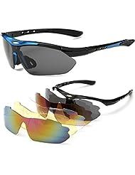 Gafas de Sol Deportivas Sports Sunglasses Polarizadas 5 Lentes Goggles Gafas de Protección Deportivas Ciclismo para Bike Bicicleta Bicycle Cycling Deporte y Aire Libre Conducción Pesca Esquiar Golf (Blue)
