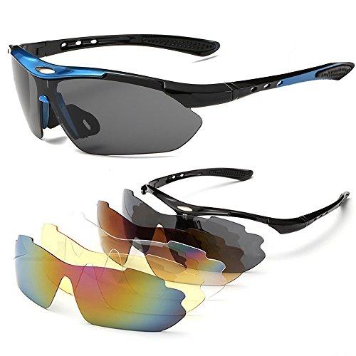 Gafas de Sol Deportivas Sports Sunglasses Polarizadas 5 Lentes Goggles Gafas de Protección Deportivas Ciclismo para Bike Bicicleta Bicycle Cycling Deporte y Aire Libre Conducción Pesca Esquiar Golf
