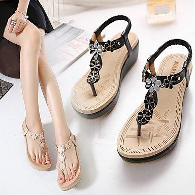 LvYuan Sandali-Ufficio e lavoro Formale Casual-Comoda Club Shoes-Zeppa-PU (Poliuretano)-Nero Tessuto almond almond