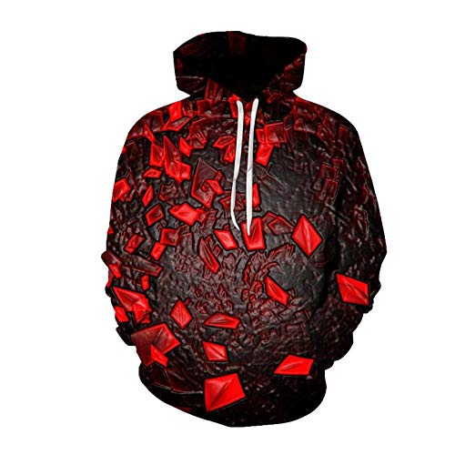 JJHR 3D Hoodie Sweatshirts Digitaldruck Beiläufige Mit Kapuze Strickjacke Lose Mantelbluse, 4XL
