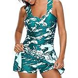 KEERADS Tankini Damen Bauchweg Große Größe V-Ausschnitt Streifen Polka Dot Bademode Schwimmkleid + Shorts (3XL, X-Grün)