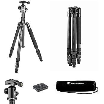Manfrotto Element Traveller Carbon Kit (groß, sehr leichtes Reisestativ aus Carbon mit Kugelkopf, verwandelbar in ein Einbeinstativ, inkl. Tragetasche und Spikes, geeignet für Arca Swiss) schwarz