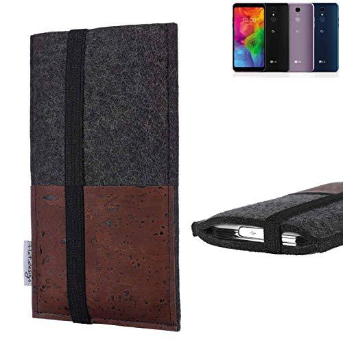 flat.design Handy Hülle Sintra für LG Electronics Q7 Alfa Handytasche Filz Tasche Schutz Kartenfach Case braun Kork
