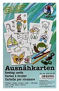 Ursus 6450099F-ausnäh Tarjetas en 10Diferentes Motivos, 50Hojas, 11x 17cm, Color Blanco