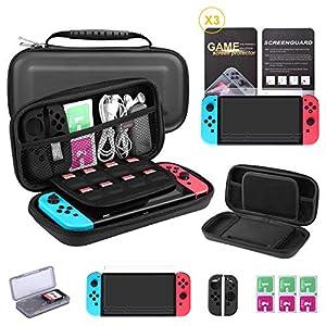 Bestico 7 in 1 Zubehör für Nintendo Switch, Nintendo Switch Tasche+Game Card Hüll+3x Displayschutzfolie+ Joy-Con Tasche