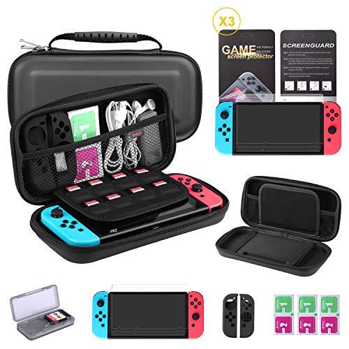 Bestico Protector Kit per Nintendo Switch, Switch Accessori 7 in 1 include Switch Custodia/Game Card Case/3pcs HD Pellicole Protettive per Nintendo Switch/Cover Protettiva in silicone Joy-Con