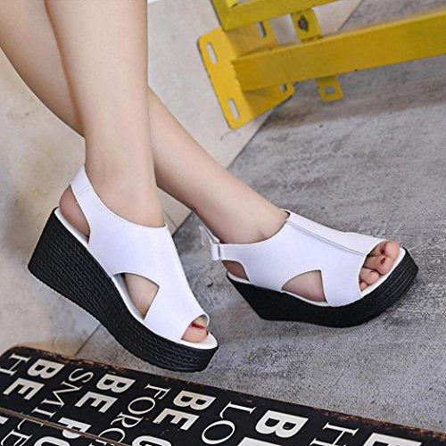 Transer® Damen Plattform Sandalen/Mokassins Plattform Peep-Toe Schwarz Weiß Steigung-heeled Kunstleder+Kunststoff Klettverschluss Outdoor Sandalen Weiß