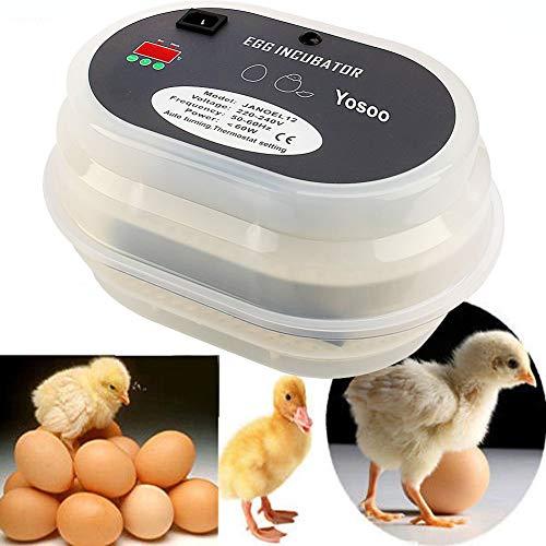 VISTANIA Vollautomatisches digitales Geflügelfloss 9 Eier für Geflügeleier für Geflügeleier mit Temperaturregelung, die Hühnerduckvögel anziehen