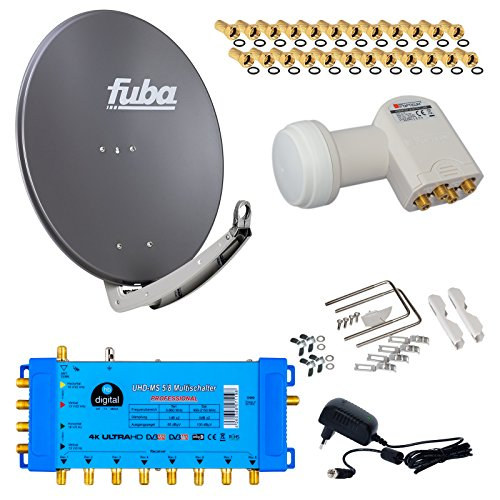 FUBA 8 Teilnehmer Digital SAT Anlage DAA780A + Profi LNB 0,1dB Full HDTV 4K + PMSE Multischalter 5/8 + 24 Vergoldete F-Stecker Gratis dazu