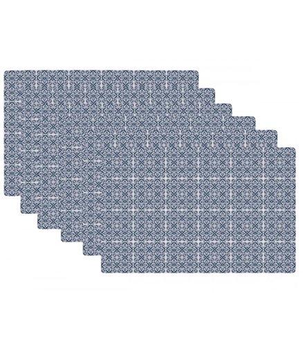 Set de Table Design Petits Carreaux de Ciment Bleu en Vinyle - Set de 6