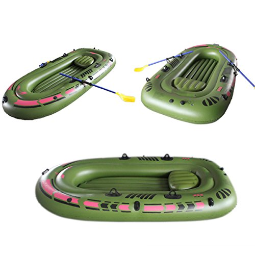 Taihang 94.4''x53.9 '' 3-Personen-PVC-Gummi-Grün-Kajak-aufblasbares Boot mit Luftpumpen-Ruder-Seil-Fischerboot (Gummi-fischerboote)