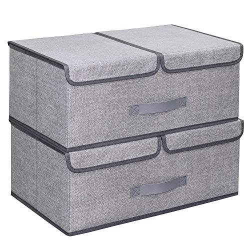 homyfort 2 Stück Faltbare Kleider Aufbewahrungs-Container für Kleiderschrank, Abnehmbare Doppel-Fächer Design Aufbewahrungsbox mit Magnet schließt, Leinen Vliesstoff, 50x 30x 20 cm,Grau Leinen, XDB2L2