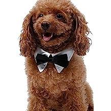 EOZY Collar de Mascota Lazo para Perros Pequeño y Grande de Bodas Talla XL Blanco y