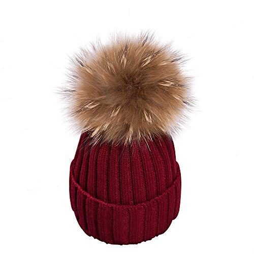 Pom Beanie Mit Rote (Yidarton Frauen Mädchen Strickmütze Pelzmütze Echt Große Waschbär Pelz Pom Pom Beanie Hüte Winter, Rot, Einheitsgröße)