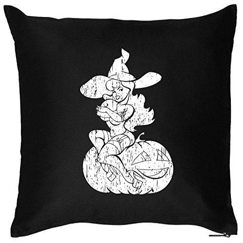 Goodman Design  Kissen mit Halloween Motiv: Hexe mit Kürbis - Halloween Deko für Das Wohnzimmer - Couch - Sofa - schwarz