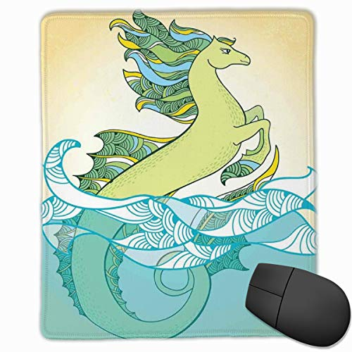 Mouse Mat Stitched Edges, Japanese Mythological Hippocampus Statue Fin In The Water Waves Legendary Art,Gaming Mouse Pad Non-Slip Rubber Base -