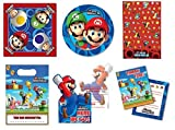 Super Mario Bros Complete Party Set - Plates, Napkins, Tablecover, Loot Bags, Invitations & Thank You Cards