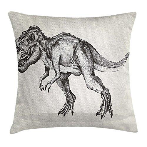 Moderna funda de cojín, diseño de dinosaurio con dibujo de animales de fósil, prehistórico, criatura gigante, ilustración salvaje, decoración cuadrada acentuada, 45,7 x 45,7 cm, color gris crema