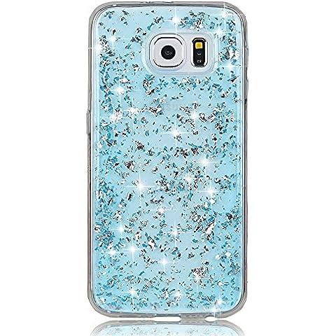 Sunroyal® Custodia per Samsung Galaxy S6 Edge (SM-G925F) Brillare Bling, 3D Creativo Glitter Soft TPU Copertura della Cassa Trasparente Shell Morbido Bumper Antigraffio e Protezione goccia Gel di Silicone Protettiva Case Cover, Blu