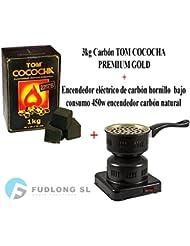 PACK] 1kg CARBÓN para cachimba TOM COCOCHA PREMIUM GOLD, HORNILLO 450W encendedor cachimba bajo consumo
