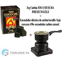 Pack 1kg CARBÓN para cachimba TOM COCOCHA Premium Gold, HORNILLO 450W Encendedor cachimba bajo Consumo