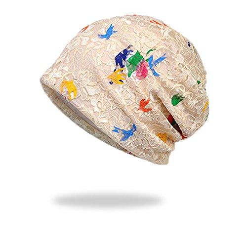 (WELROG Chemo Hut Frau Frauen Hut Spitzen Kopftuch Super Weich Slouchy Turban Kopfbedeckungen Kopf Wraps (Beige #2))