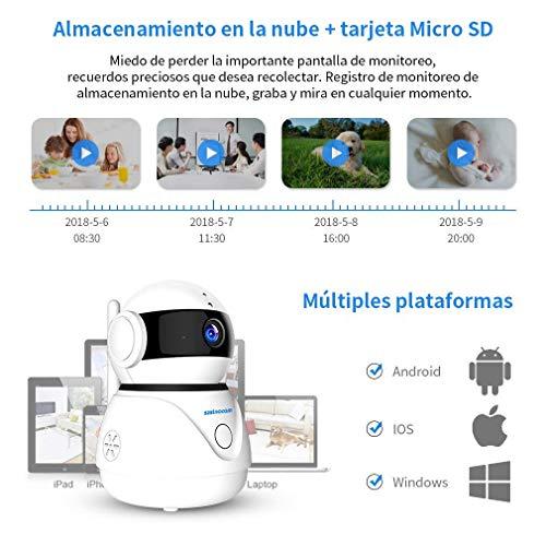 SZSINOCAM Cámara de Vigilancia WiFi Interior Inalámbrica,Camaras de Seguridad para Bebé, Visión Nocturna, Detección de Movimiento,Audio de 2 Vías,Compatible con iOS, Android
