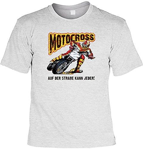 Biker T-Shirt Motocross - auf der Straße kann jeder Shirt 4 Heroes Geburtstag Geschenk geil bedruckt mit Biker-Urkunde Grau