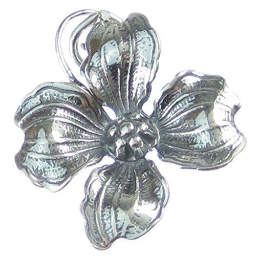 Hartriegel Blume Sterling Silber Anhänger .925 x 1 Pflanze Pflanzen Blüten Anhänger cf439 (Hartriegel-blumen)