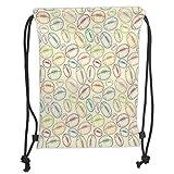 Trsdshorts Custom Printed Drawstring Backpacks Bags,American Football,Grunge Looking Hand Drawn Style Sports Sketch with Colorful Retro Balls, Soft Satin,5 Liter Capacity,Adjustable String Closure