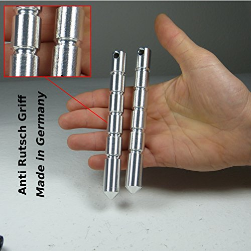 2 x (Doppelpack) Premium Kubotan mit ANTI RUTSCH GRIFF und Spitze Selbstverteidigung Pen als Schlüsselanhänger Legal als Alternative zu Teleskopschlagstock Kombinierbar mit Krav Maga Kubaton Wellengriff