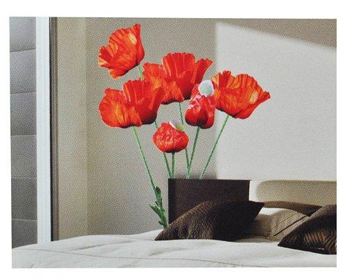 Unbekannt XXL Wandaufkleber / Sticker - Mohnblumen mit Stengel - Mohn Blüten - selbstklebend für Kinderzimmer und Deko Wandsticker Aufkleber Blumen