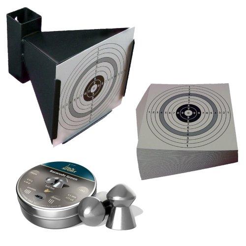 Trichter Kugelfang + H&N Baracuda Green Diabolos Kal. 4,5 mm + 125 ShoXx.® shoot-club Zielscheiben 14x14 cm mit zusätzlichen grauen Ring und 250 g/m² - Baracuda Ring