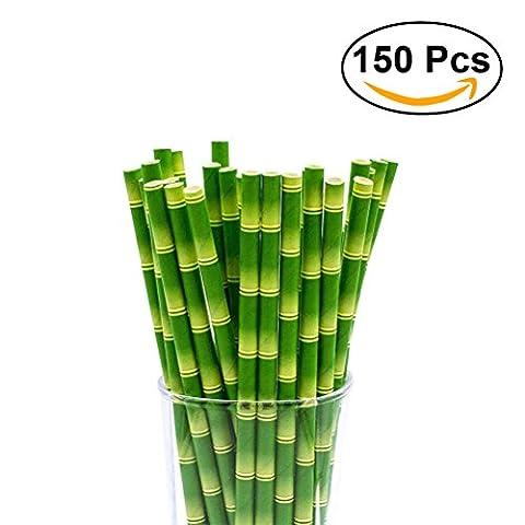 BESTOMZ 150 Stück Papier Trinkhalm Biologisch Bambus Papier Strohhalme für Hochzeit Party Dekorationen