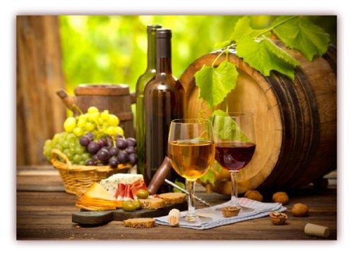 m (F-223) Wein mit Weintrauben Weinfaß Käse Oliven und rustikaler Tisch (Lieferung gerollt!) ()