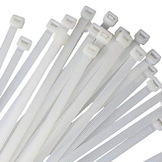 erthome Kabelbinder, Längen 200mm selbstsichernde Nylon Kabelbinder Zip Wrap, Profi Klettverschluss Kabelbinder Set Wiederverwendbar Klettbänder (Weiß ❤️ 100 stück)