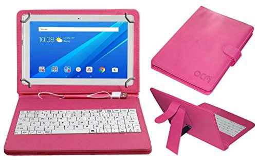 Acm Usb Keyboard Case for Lenovo Tab 4 10 Tablet Cover Stand With Free Micro Usb Otg - Pink