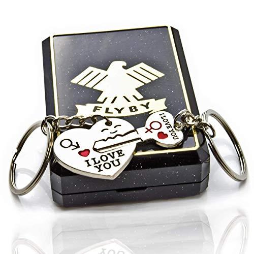 FLYBY Partner Schlüsselanhänger Herz und Schlüssel mit I Love You Gravur im Geschenk Etui (Herz Anhänger Schlüssel)