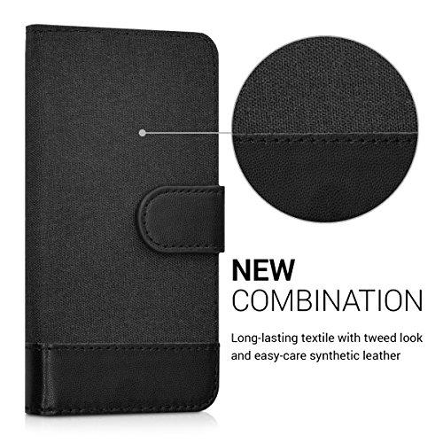 kwmobile Wallet Case Hülle für Apple iPhone SE / 5 / 5S - Cover Flip Tasche mit Kartenfach in Schwarz .Anthrazit Schwarz