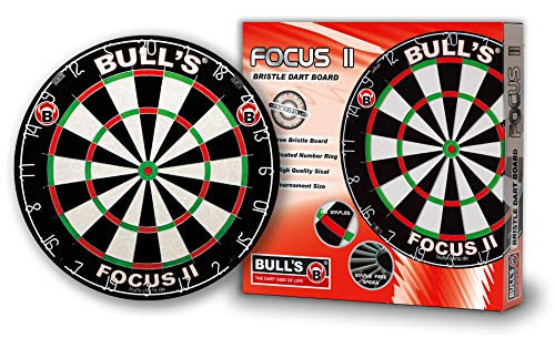 Bulls Darts Focus II Bristle Board Black/White/Red/Green, 45,7 cm