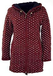 Guru-Shop Lange Strickjacke, Warme Wolljacke, Nepal Jacke, Damen, Bordeauxrot, Wolle, Size:XL (42), Strickjacken, Ponchos Alternative Bekleidung