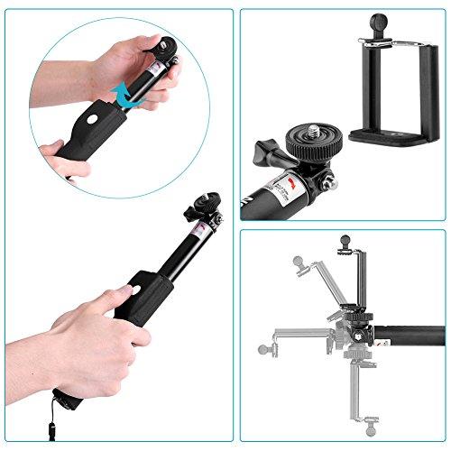 "Neewer® 39""/100cm Bluetooth Wireless Otturatore Remoto Selfie Bastone Telescopica Monopiede con Supporto Cellulare Regolabile per iPhone 6S/6S plus/6 Plus/6/5/5C/5S, Samsung Galaxy Note 4/3/2,S6/5/4, Blackberry, HTC Smartphone; per GoPro HD Hero 4 3+ 3 2, SJ4000 SJ5000 Serie Fotocamera Sportiva,Sony HDR-AS15 HDR-AS30V HDR-AS100V Action Cam,Canon Nikon Sony ecc."