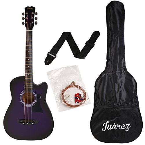 Juârez JRZ38C/VTS 6 Strings Acoustic Guitar 38 Inch Cutaway, Right Handed, Violet/Purple with Bag, Strings, Picks and Strap