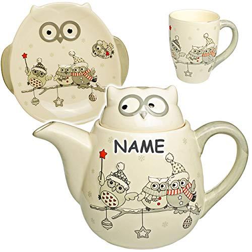 alles-meine.de GmbH 3 TLG. Set: 3D Effekt - Henkeltasse / Kaffeetasse + Teller + Teekanne - lustige Eulen im Winter - inkl. Name - groß - 1 Liter - Porzellan / Keramik - weiß Tee.. - Keramik Große Tee-kanne