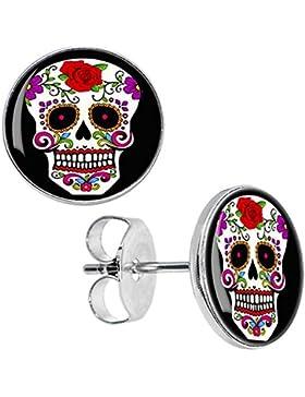 Cameleon-Shop - Ohrstecker Edelstahl - Mexikanische Schädel Calavera - Skull Auge Gold - Rosa Rot - 10mm