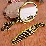 HHBO manico vuoto bronzo specchio a mano pettine trucco antico dono specchio con l'imballaggio