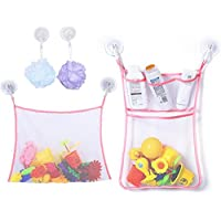 Preisvergleich für Badewanne Spielzeug Organizer 2er Pack Netz Aufbewahrungstasche set mit 6 Saugnäpfe Aufbewahrung für Badespielzeug
